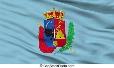 Closeup Cajamarca city flag, Peru - Cajamarca closeup flag,...