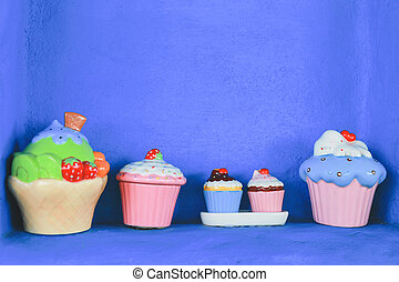 closeup cake and retro purple brick wall decor background texture in pastel or vintage style. concept idea select focus