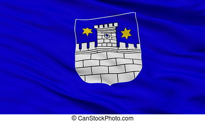 Closeup Cakovec city flag, Croatia
