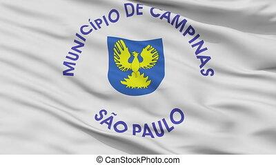 Closeup Campinas city flag, Brasil - Campinas closeup flag,...