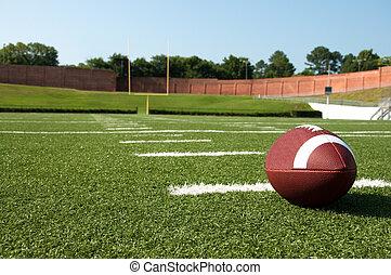 closeup, campo futebol americano, americano