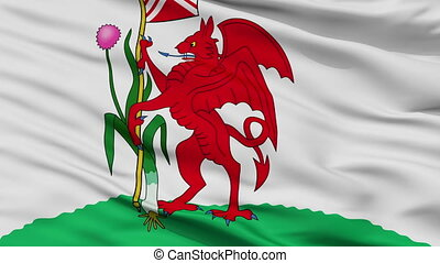 Closeup Cardiff city flag, UK - Cardiff closeup flag, city...
