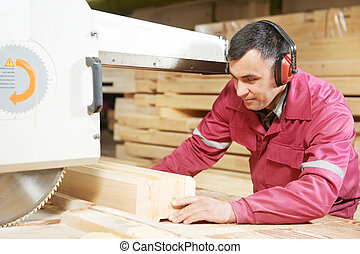closeup carpentry wood cross cutting - Closeup process of...
