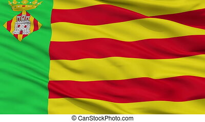 Closeup Castello la Plana city flag, Spain - Castello la...