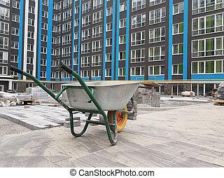 closeup cement cart