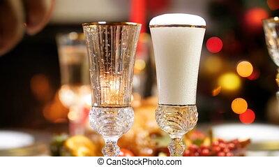 closeup, champagne, deux, vidéo, lunettes, célébrations, ...