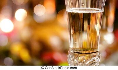 closeup, champagne, fizzy, verre, coloré, levée, lumières,...