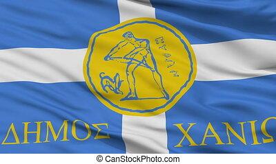 Closeup Chania city flag, Greece
