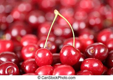 Closeup cherries fruits