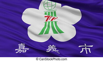 Closeup Chiayi city flag, China - Chiayi closeup flag, city...