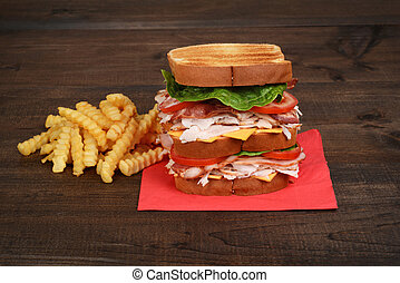 closeup chicken club sandwich