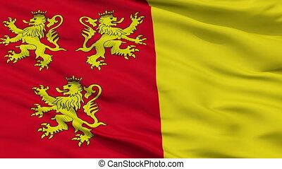 Closeup Chievres city flag, Belgium