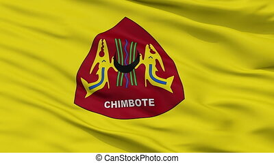 Closeup Chimbote city flag, Peru - Chimbote closeup flag,...