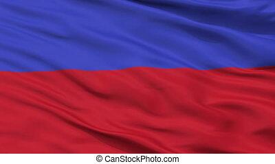 Closeup Chorzow city flag, Poland - Chorzow closeup flag,...