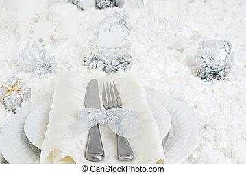 closeup christmas dinner table