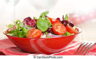 closeup, ciotola, insalata, fresco