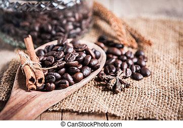 closeup coffee beans on ladle