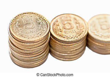 Closeup Coin stack isolated on white copy space