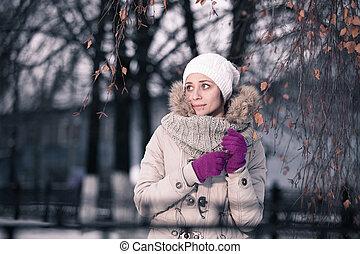 closeup, coloré, heureux, hiver, jeune, portrait, extérieur, brunette.