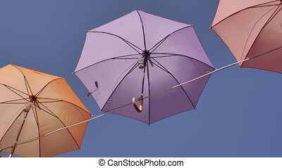 Closeup colorful umbrella outdoors