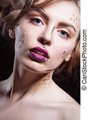 closeup, coloridos, moda, excitado, elegante, caucasiano, loura, bonito, maquilagem, modelo, retrato, lábios, pele, luminoso, glamor, jovem, limpo, vermelho, acessórios, mulher, perfeitos, alto, look.