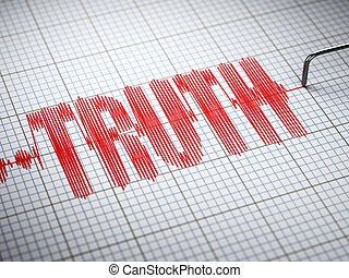 closeup, concept., poligráf, 3, igazság, text., hazugságmérő