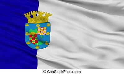 Closeup Conchali city flag, Chile