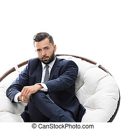 businessman sitting in a comfortable chair