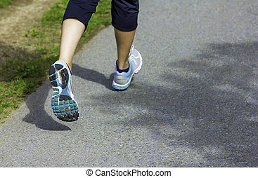 closeup, coureur, pieds, coureurs, -, chaussures, courant