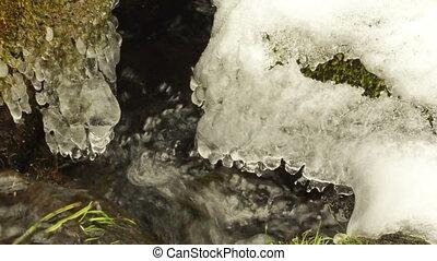 closeup creek snow mossy