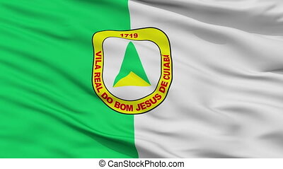 Closeup Cuiaba city flag, Brasil - Cuiaba closeup flag, city...