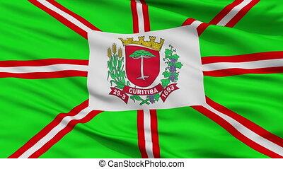 Closeup Curitiba city flag, Brasil - Curitiba closeup flag,...