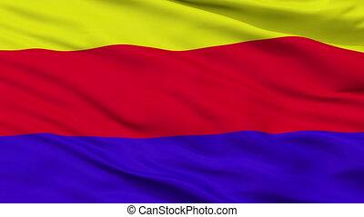 Closeup Curuzu Cuatia city flag, Argentina