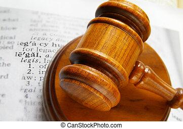 closeup, définition, marteau, tribunal, légal