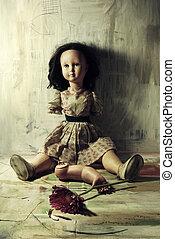 closeup, danificado, antigas, boneca