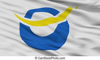 Closeup Date city flag, prefecture Fukushima, Japan - Date...