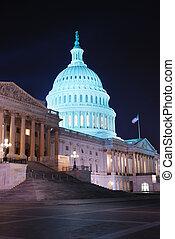 closeup, dc, bâtiment, capitole, washington, colline