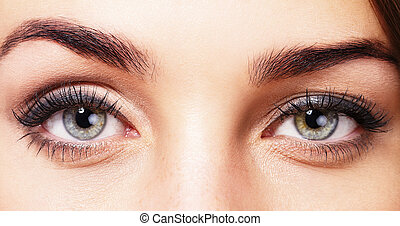 closeup, de, bonito, womans, olhos
