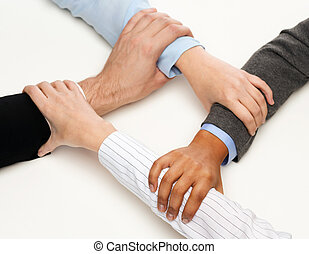 closeup, de, businesspeople, mãos, unidas