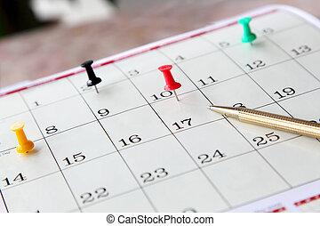 closeup, de, calendário, página