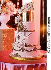 closeup, de, casamento branco, bolo, com, flowers., grande, casório, cake., decoração, trends., casório, ceremony.