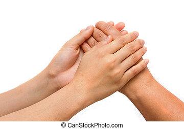 closeup, de, couple, mains, lier