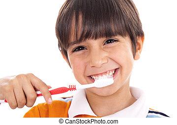 closeup, de, cute, criança, escovar, seu, dentes