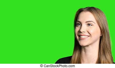 closeup, de, femme souriant, appareil-photo