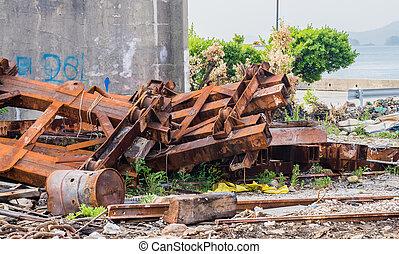 closeup, de, grande, enferrujado, transporte ferrovia carros