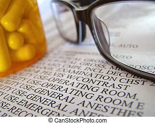 closeup, de, médian, note, et, pilules