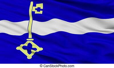 Closeup De Marne city flag, Netherlands - De Marne closeup...