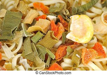 closeup, de, secado, noodles, com, ingredientes