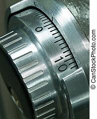 closeup, de, um, cofre, abóbada, combinação, spinner, -,...