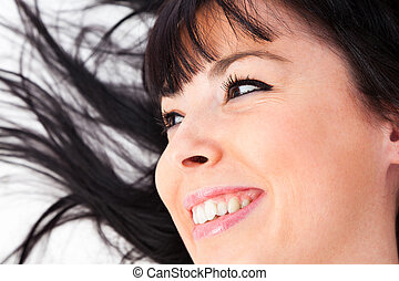 closeup, de, um, cute, caucasiano, mulher